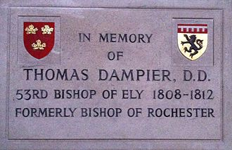 Thomas Dampier - Memorial to Bishop Thomas Dampier in Ely Cathedral