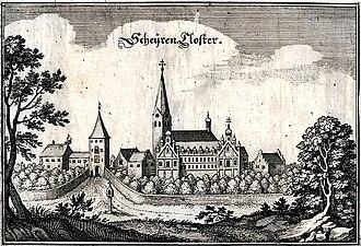"Scheyern Abbey - Engraving in ""Topographia Germaniae des Matthaeus Merian"" of about 1644"