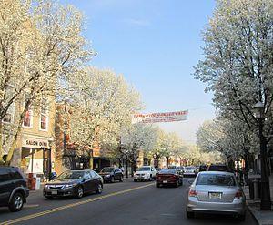 Metuchen, New Jersey - Main Street, Metuchen, in spring