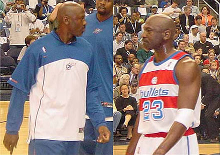 Jordan as a member of the Washington Wizards, April 14, 2003 MichaelJordanDepOfDefense.jpg