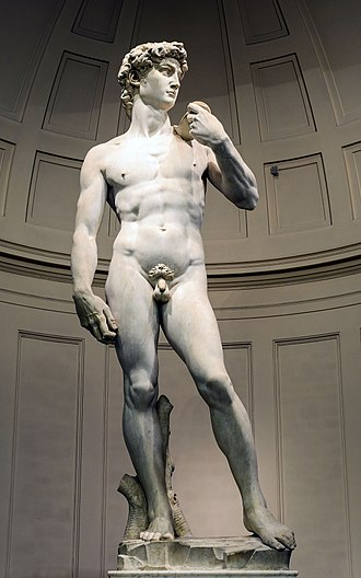 Renaissance - David, by Michelangelo (1501–1504), Accademia di Belle Arti, Florence, Italy) is a masterpiece of Renaissance and world art.