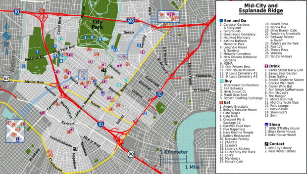 graphic regarding Printable Maps of New Orleans called Fresh Orleans/Mid-Metropolis and Esplanade Ridge Generate consultant at