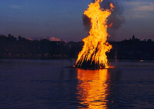A bonfire on a lake