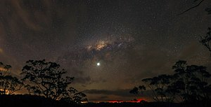2013–14 Australian bushfire season - The Milky Way and Venus viewed above a bushfire in New South Wales on 26 October.