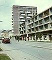 Miskolc, Bajcsy Zsilinszky utca az Ady híd felé nézve, a magas épület a Fórum ház. Fortepan 21133.jpg