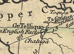 Great Tellico - Great Tellico, as shown on John Mitchell's 1755 map of North America