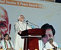 "Mohd. Hamid Ansari addressing at the presentation of the ""First Sree Narayan Guru Global Secular & Peace Award 2013"", at Thiruvananthapuram, Kerala. The Chief Minister of Kerala.jpg"