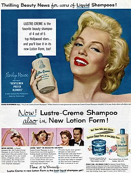 Monroe in a Lustre-Creme shampoo advertisement in 1953 MonroeLustreCremead.jpg