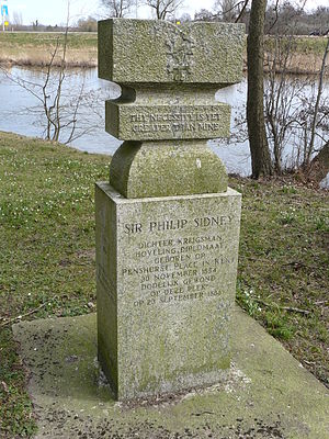 Philip Sidney - Memorial for Sir Philip Sidney at the spot where he was fatally injured