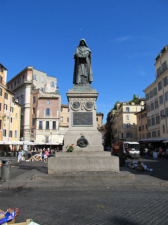 Statue of Giordano Bruno - The monument to Bruno in the place he was executed, Campo de' Fiori in Rome.
