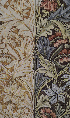 Fiber art - Detail of design for Bluebell or Columbine printed art fabric, 1876, by William Morris.
