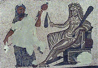Omphale - Hercules and Omphale, detail of a Roman mosaic from Llíria (Spain), third century.