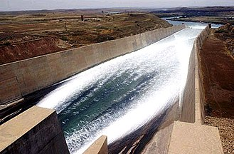 Mosul Dam - Chute spillway with ski jump section to dissipate the energy of the rushing water