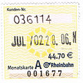 Mothly ticket VRR Rheinbahn July 2002.jpg