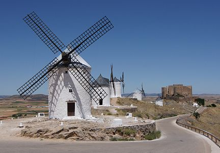 Windmills, ruins of Castillo de Consuegra, Landscape of castile-La Mancha, Spain