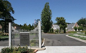 Piedmont Avenue (Oakland, California) - The gates of the Mountain View Cemetery at the end of Piedmont Avenue