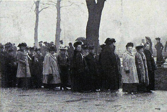 At the head of the march (left to right), Lady Frances Balfour in the light coat, Millicent Garrett Fawcett, and Lady Jane Strachey