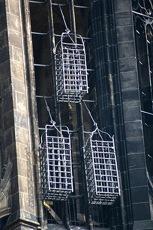 John of Leiden - Iron baskets that held the corpses of the leaders of the Münster Rebellion at the steeple of St. Lambert's Church.