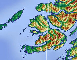 Ulva - Topography of Ulva and surrounding area