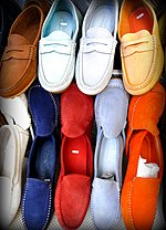 Multicolour moccasins for sale in Positano, Italy.jpg