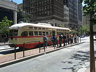 Montgomery Street station - F Market and Wharves streetcar at Market and 2nd Street