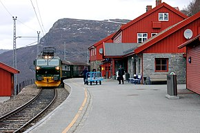 Myrdal Station with Flåmsbana train.jpg