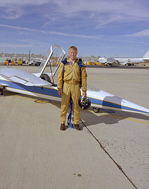 NASA AD-1 - The AD-1 and pilot Richard E. Gray