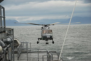 No. 337 Squadron RNoAF - Westland Lynx landing on NoCGV ''Senja''