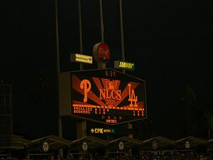 2008 NLCS game 3 at Dodger Stadium between the...