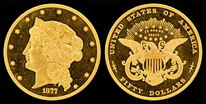 William Barber (engraver) - 1877 $50 Half Union gold pattern (J-1546)