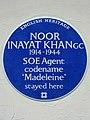 NOOR INAYAT KHAN GC 1914-1944 SOE Agent codename 'Madeleine' stayed here.jpg