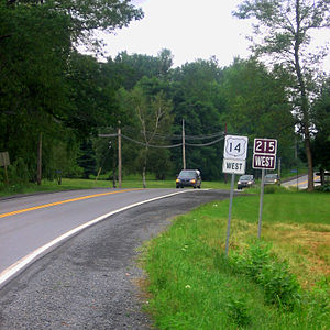 Nova Scotia Route 215 - Section of NS Route 215 through Brooklyn duplexed with Trunk 14