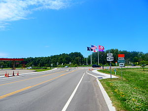 New York State Route 438 - NY 438 approaching US 20/NY 5 in Brant
