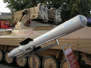 DRDO-built 3rd-generation ATGM Nag missile Nag with NAMICA Defexpo-2008.JPG