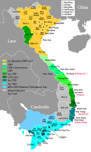Nam tiến - Map of Vietnam showing the conquest of the south (nam tiến, 1069-1834).