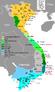 Mapa de Vietnam que muestra la conquista del sur (Nam tiến, 1069-1757).