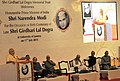 Narendra Modi addressing at the function to mark the birth centenary of Late Shri Girdhari Lal Dogra, in Jammu University, Jammu and Kashmir. The Governor of Jammu and Kashmir, Shri N.N. Vohra.jpg