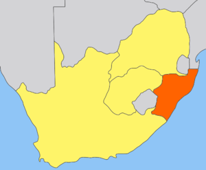 Hinduism in South Africa - Natal region (orange) of South Africa, where over 100,000 indentured Hindu laborers were first brought in by British colonial empire in the 19th century.