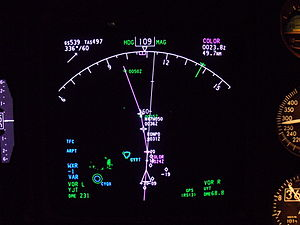 Electronic flight instrument system - The Navigation Display (ND) of a Boeing 737NG Aircraft.