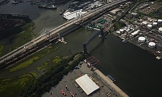 Goethals Bridge - New Goethals Bridge dual span from the air