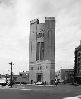 Holland Tunnel - One of four towers, the New York Land Ventilation Building in 1985