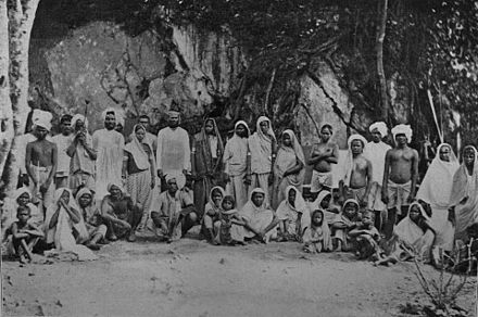Newly arrived indentured Indian labourers in Trinidad and Tobago. Newly arrived coolies in Trinidad.jpg
