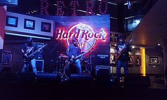 Indian rock - Nicotine playing at the Hard Rock Cafe, in Hyderabad, India in 2016. The band is widely known for being the pioneers of Metal Music in Central India.