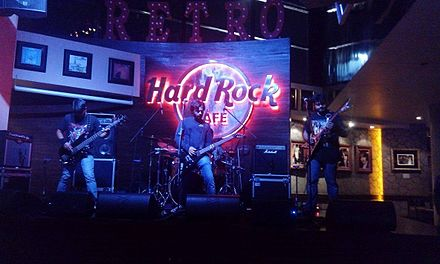 Nicotine playing at the Hard Rock Cafe, in Hyderabad, India in 2016. The band is widely known for being the pioneers of Metal Music in Central India. Nicotine (Metal Band from Indore) playing at the Hard Rock Cafe in Hyderabad, India.jpg