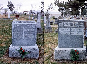 Swedish Americans - Graves in Blair, Nebraska of Swedish American pioneer siblings Niels Truhlsen and Anna Truedsdotter Hansen