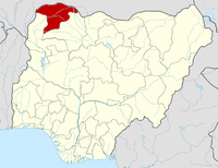Location of Sokoto State in Nigeria