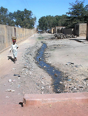 A woman walks down a side street in Niono, during the dry season, January 2003.