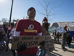 Protest against the name of the Washington Redskins