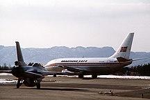 卑爾根機場-客運大樓-NoRAF F-16 and Braathens 737-200 at Flesland