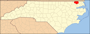 National Register of Historic Places listings in Gates County, North Carolina - Image: North Carolina Map Highlighting Gates County